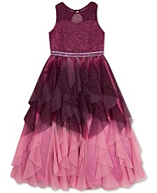 Rare Editions Big Girls Ruffled Ombré Mesh Dress