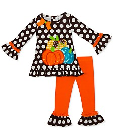 Rare Editions Little Girls 2-Pc. Pumpkin-Appliqué Top & Leggings Set