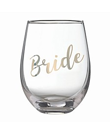 "Gold ""Bride"" Stemless Wine Glass"