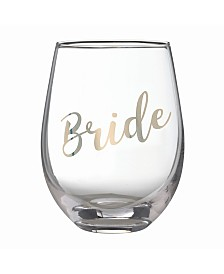 "Lillian Rose Gold ""Bride"" Stemless Wine Glass"