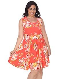 Women's Plus Size Flower Print Crystal Dress
