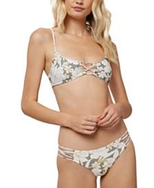 O'Neill Juniors' Embry Printed Reversible Bralette Bikini Top & Embry Printed Hi-Leg Bikini Bottoms