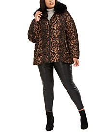 Plus Size Leopard-Print Faux-Fur Collar Puffer Coat