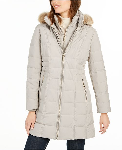 Michael Kors Petite Faux-Fur Trim Hooded Down Coat, Created For Macy's