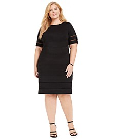 Plus Size Illusion-Trim Ribbed Dress