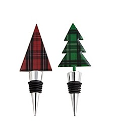 Plaid Bottle Stoppers, Set of 2