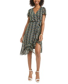 Juniors' Printed Faux-Wrap Dress