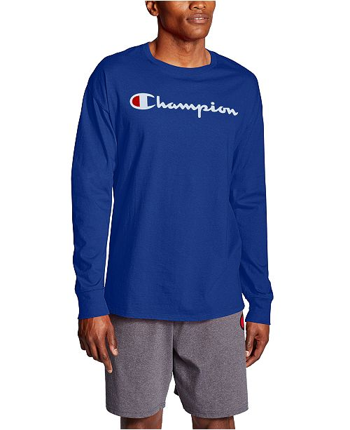 Champion Men's Script-Logo Long Sleeve Tshirt