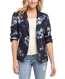 Ruched-Sleeve Jacquard Floral Jacket