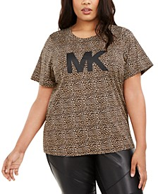 Plus Size Animal-Print Logo T-Shirt