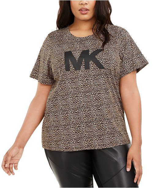 Michael Kors Plus Size Animal-Print Logo T-Shirt