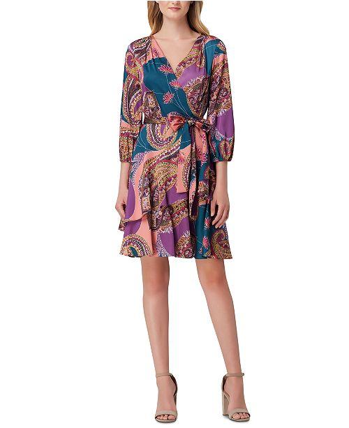 Tahari ASL Printed Faux-Wrap Dress