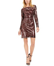 Sequined Animal-Print Sheath Dress