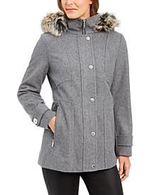 Zip-Front Faux-Fur-Trim Hooded Coat