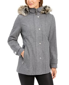 London Fog Zip-Front Faux-Fur-Trim Hooded Coat