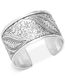 Lucky Brand Silver-Tone Floral-Etched Statement Cuff Bracelet
