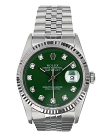 Pre-Owned Rolex Men's  Stainless Steel Datejust Jubilee With Green Diamond Dial