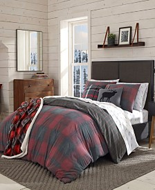 Eddie Bauer Cattle River Plaid Red Duvet Cover Set, Twin