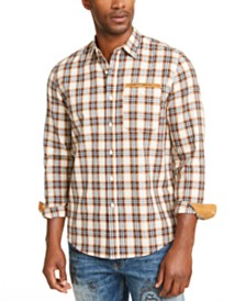 Sean John Men's Herringbone Woven Plaid Shirt