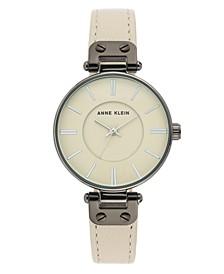 Women's Cream Leather Strap Watch 34mm