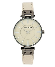Anne Klein Women's Cream Leather Strap Watch 34mm
