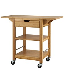 "24"" Bamboo Kitchen Cart with Drop Leaf"