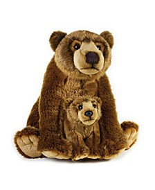 Lelly National Geographic Grizzly Bear With Baby Plush Toy
