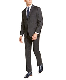 Men's Classic-Fit Airsoft Stretch Gray/Blue Windowpane Suit Separates