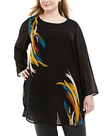 Plus Size Printed Tunic Blouse, Created for Macy's