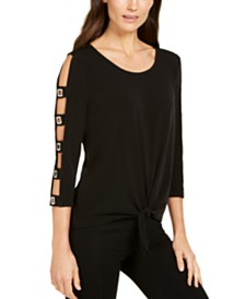 JM Collection Tie-Hem Ladder-Sleeve Top, Created for Macy's