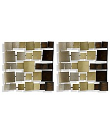 Gold Ombre Metal Square Panels - Set of 2