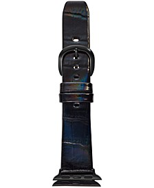 Women's Iridescent Black Leather Apple Watch® Strap