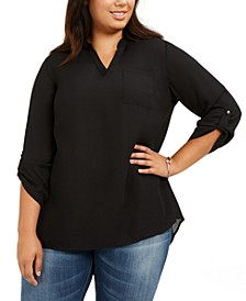 Plus Size Roll-Tab-Sleeve Top