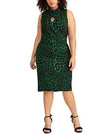 Plus Size Twisted Animal-Print Sheath Dress