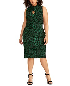 RACHEL Rachel Roy Plus Size Twisted Animal-Print Sheath Dress