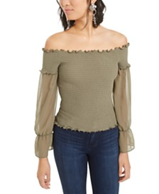 Bar III Off-The-Shoulder Mixed Media Mesh-Sleeve Top, Created for Macy's