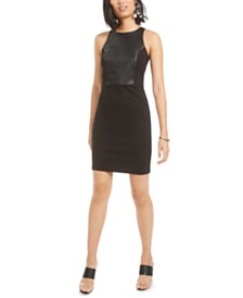 Bar III Faux-Leather-Contrast Bodycon Dress, Created For Macy's