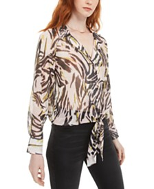 Bar III Printed Semi-Sheer Blouse, Created For Macy's