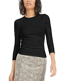 Ruched Puffed-Shoulder 3/4 Sleeve T-Shirt, Created For Macy's