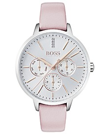 Women's Symphony Diamond-Accent Pink Leather Strap Watch 38mm