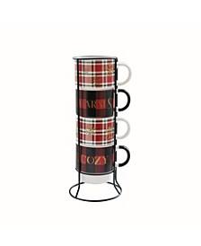 Warm & Cozy Plaid 5 Piece Mug Set w/ Metal Rack
