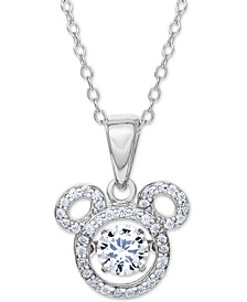 "Cubic Zirconia Mickey Mouse 18"" Pendant Necklace in Sterling Silver"