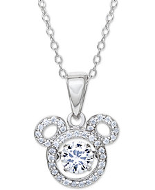 "Disney© Cubic Zirconia Mickey Mouse 18"" Pendant Necklace in Sterling Silver"