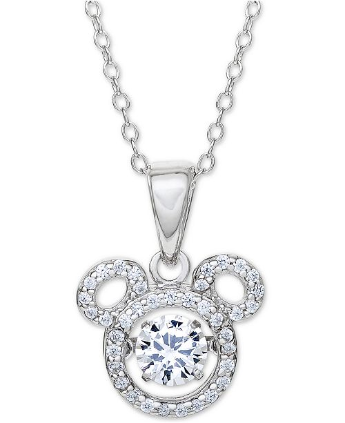 """Disney Cubic Zirconia Mickey Mouse 18"""" Pendant Necklace in Sterling Silver"""