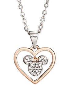 """Children's Cubic Zirconia Mickey Heart 18"""" Pendant Necklace in Sterling Silver & 18k Rose Gold-Plate Over Sterling Silver"""