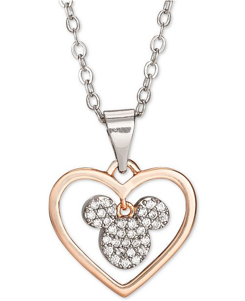 """Disney Children's Cubic Zirconia Mickey Heart 18"""" Pendant Necklace in Sterling Silver & 18k Rose Gold-Plate Over Sterling Silver"""
