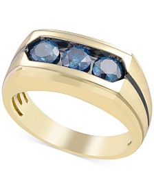 Men's Blue Diamond Ring (1-1/5 ct. t.w.) in 10k Gold