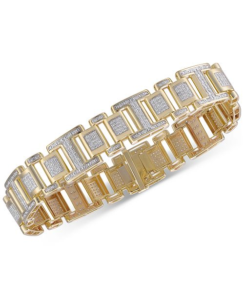 Macy's Men's Diamond Link Bracelet (2-1/2 ct. t.w.) in 10k Gold