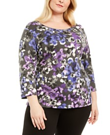 Karen Scott Plus Size Floral Print Top, Created For Macy's