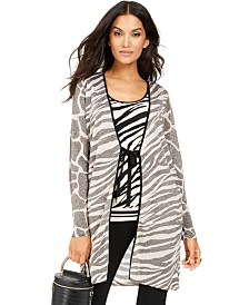 I.N.C. Zebra Completer Sweater, Created For Macy's